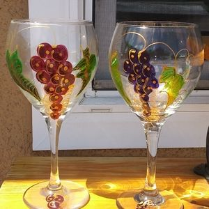 Hand Painted Libbey Balloon Wine Glasses